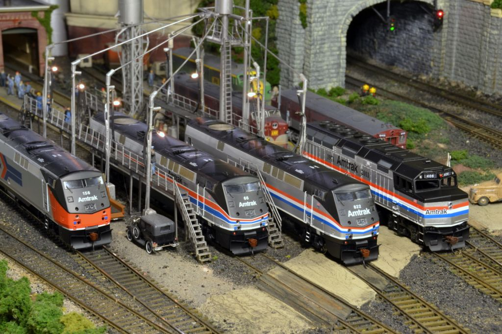 The Amtrak 40th diesels get topped off at the maintenance facility.