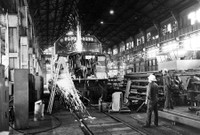 F40 Locomotive being repaired at Beech Grove