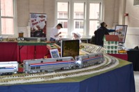 Model train display at Wilmington showcases an Amtrak consist