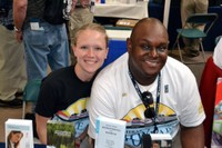 Two of our Amtrak volunteers, Nicole and Colin, smile for the camera
