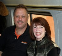 Mick Nussbaum and Mayor Barry smile for us on the Exhibit Train