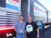Amtrak employees greet visitors