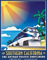 Original Pacific Surfliner poster is on display in the Exhibit Train