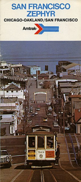 San Francisco Zephyr brochure, 1975. Cover shows San Francisco cable cars.