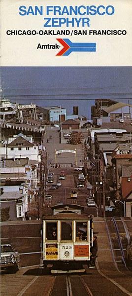 San Francisco Zephyr brochure, 1975. Cover shows San Francisco cable cars.