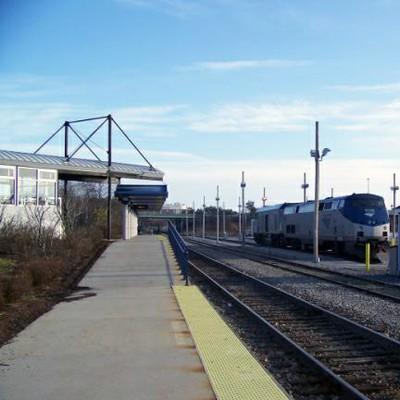 Train at Portland, Maine, station.