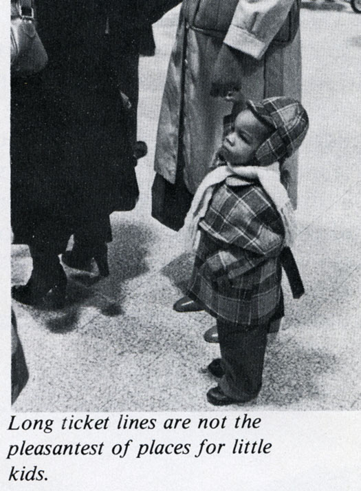 Young child waiting in a ticket line at Washington Union Station, 1977.